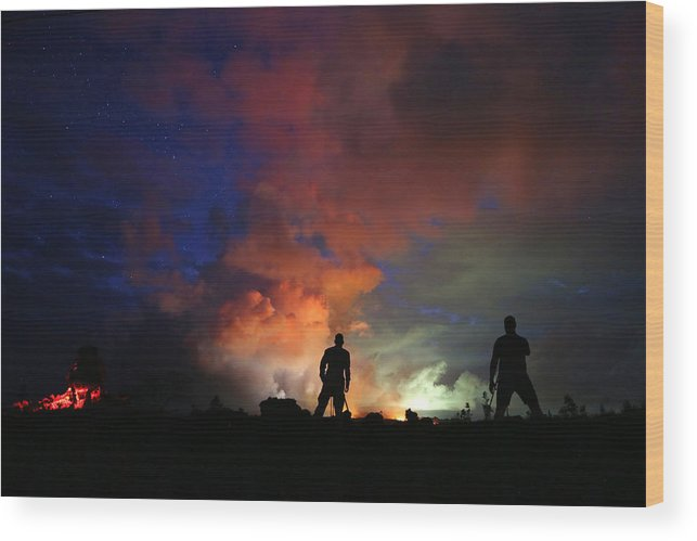 Working Wood Print featuring the photograph Hawaiis Kilauea Volcano Erupts Forcing by Mario Tama