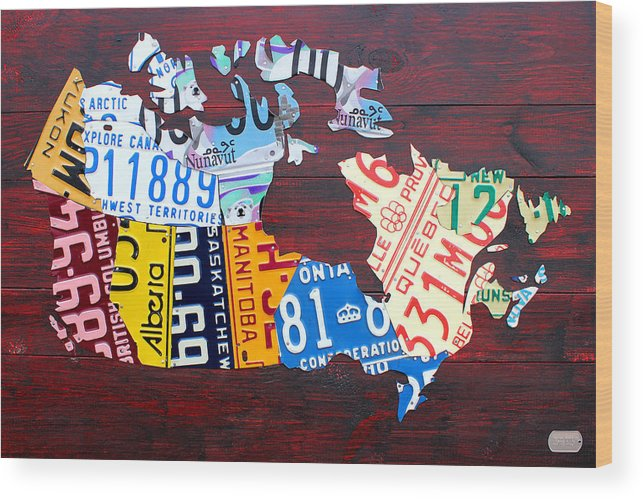 License Plate Map Of Canada Ontario Quebec Toronto Alberta Saskatchewan Manitoba Nunavut Northwest Territories Yukon New Brunswick Newfoundland Labrador Nova Scotia Prince Edward Island Pei Calgary Edmonton Vancouver Whitehorse Yellowknife Moncton Halifax Windsor Regina Winnipeg Wood Print featuring the mixed media License Plate Map of Canada by Design Turnpike