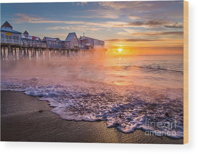 Arctic Sea Smoke Wood Print featuring the photograph Old Orchard Beach Sea Smoke by Benjamin Williamson