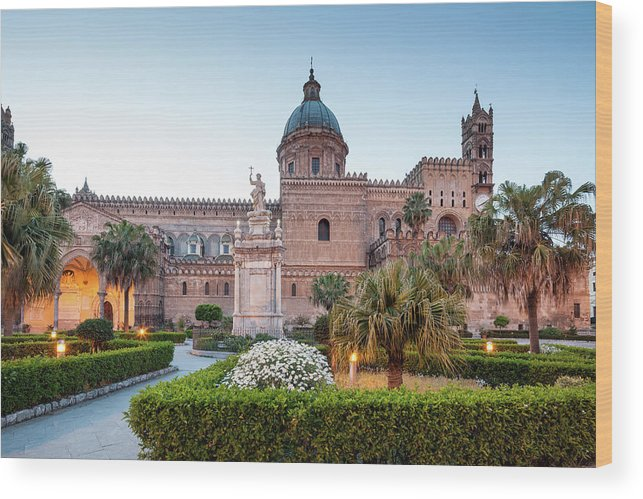 Saturated Color Wood Print featuring the photograph Palermo Cathedral At Dusk, Sicily Italy by Romaoslo