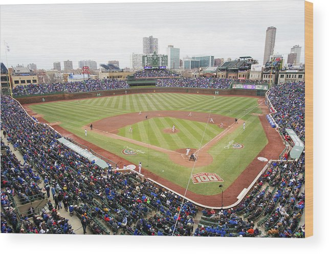 National League Baseball Wood Print featuring the photograph Philadelphia Phillies V Chicago Cubs by Ron Vesely