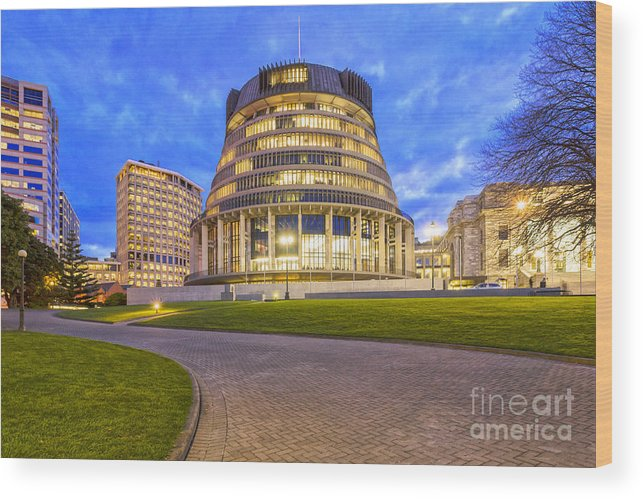 Wellington Wood Print featuring the photograph The Beehive Wellington New Zealand by Colin and Linda McKie
