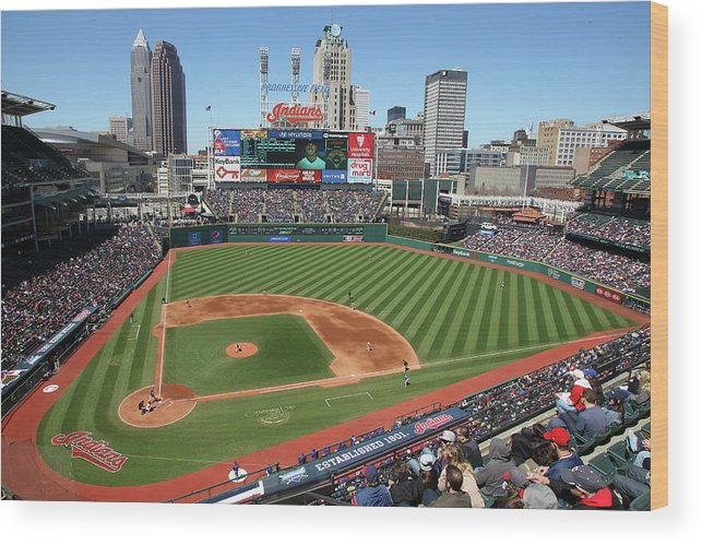 American League Baseball Wood Print featuring the photograph Toronto Blue Jays V. Cleveland Indians by John Grieshop