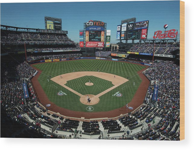East Wood Print featuring the photograph Washington Nationals V. New York Mets by Rob Tringali