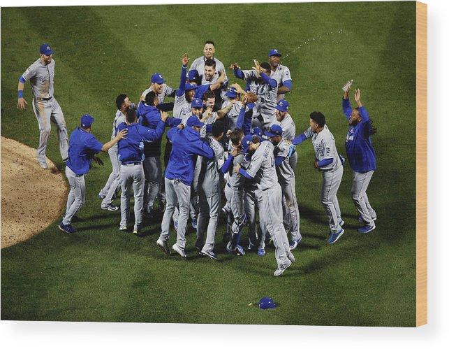 American League Baseball Wood Print featuring the photograph World Series - Kansas City Royals V New by Tim Bradbury