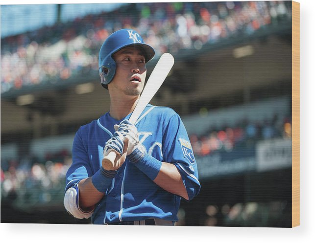 American League Baseball Wood Print featuring the photograph Kansas City Royals V Baltimore Orioles by Rob Tringali