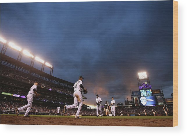 National League Baseball Wood Print featuring the photograph New York Mets V Colorado Rockies by Doug Pensinger