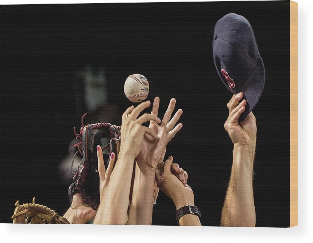 American League Baseball Wood Print featuring the photograph Arizona Diamondbacks V Boston Red Sox by Billie Weiss/boston Red Sox