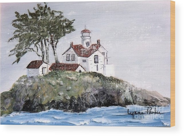 Lighthouse At Crescent City Wood Print featuring the painting Battery Point Lighthouse by Lynne Parker
