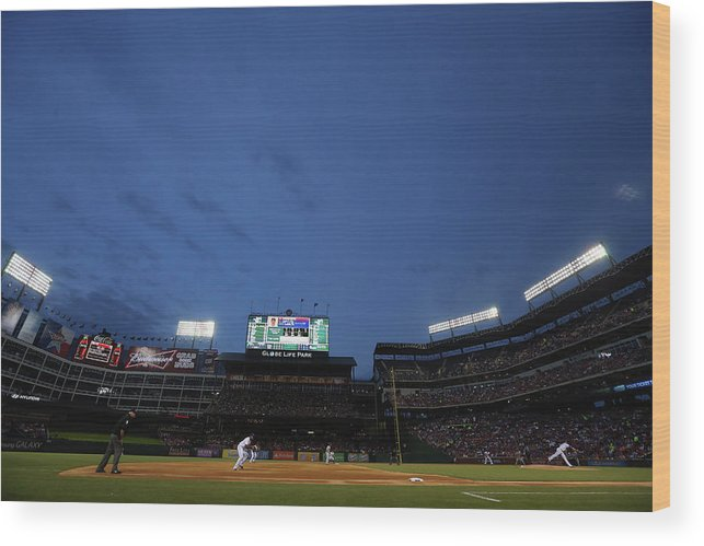 American League Baseball Wood Print featuring the photograph Boston Red Sox V Texas Rangers by Ronald Martinez