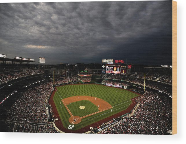 American League Baseball Wood Print featuring the photograph Cincinnati Reds V Washington Nationals by Patrick Smith