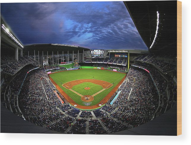 American League Baseball Wood Print featuring the photograph Colorado Rockies V Miami Marlins by Mike Ehrmann