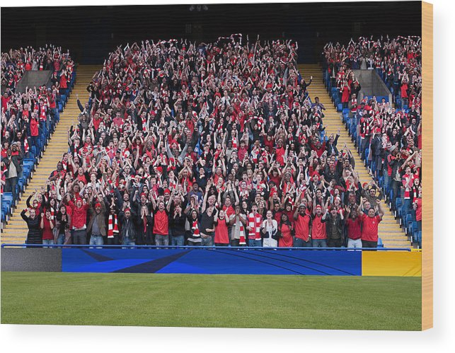 Crowd Wood Print featuring the photograph Football crowd in stadium by Image Source