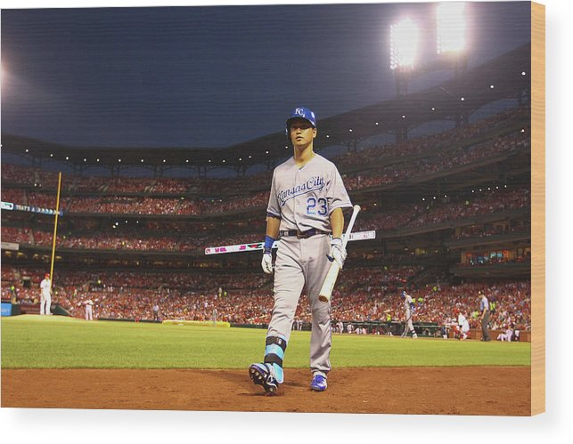 American League Baseball Wood Print featuring the photograph Kansas City Royals V St. Louis Cardinals by Dilip Vishwanat