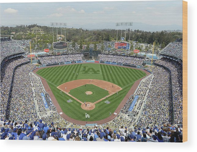 American League Baseball Wood Print featuring the photograph San Francisco Giants V Los Angeles by Harry How