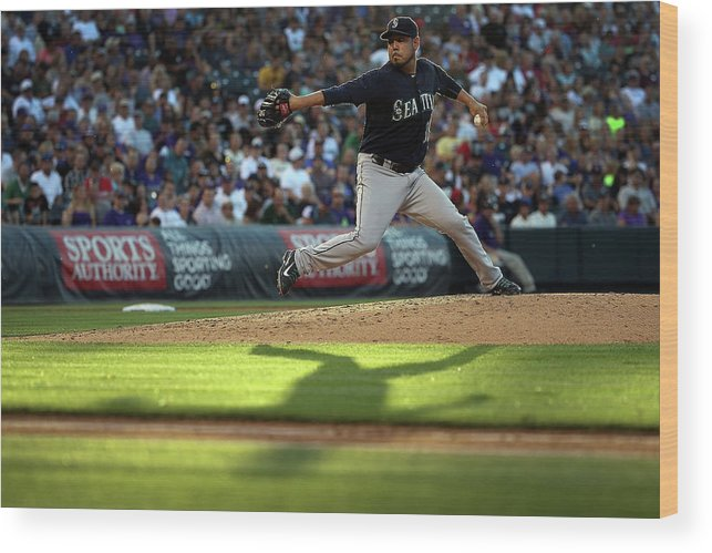 People Wood Print featuring the photograph Seattle Mariners V Colorado Rockies by Doug Pensinger