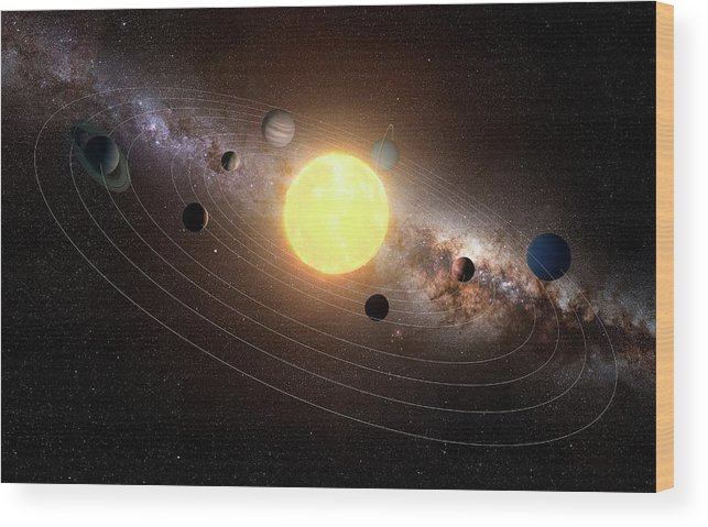Black Background Wood Print featuring the digital art Solar System, Artwork by Sciepro