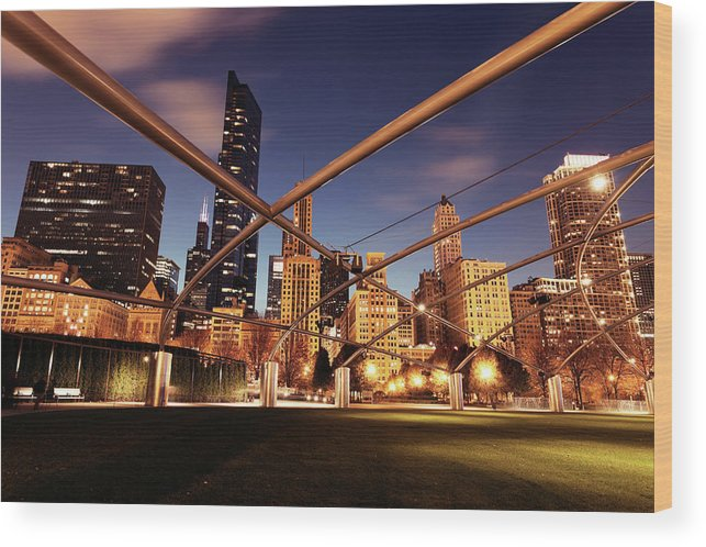 Downtown District Wood Print featuring the photograph Usa, Illinois, Chicago, Cityscape by Henryk Sadura