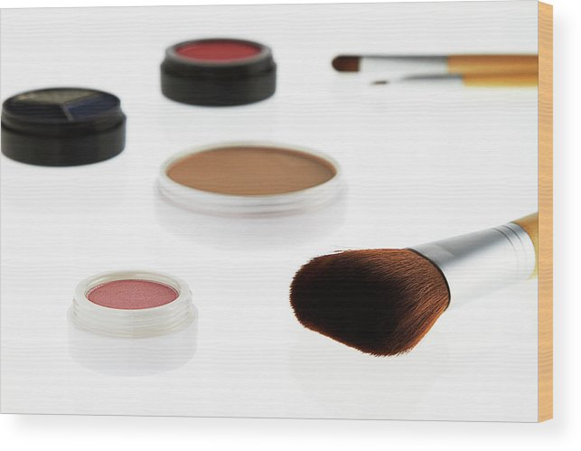 White Background Wood Print featuring the photograph Still Life Of Beauty Products by Stephen Smith