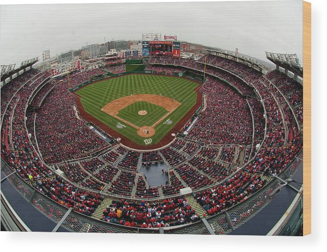 National League Baseball Wood Print featuring the photograph Atlanta Braves V. Washington Nationals by Mitchell Layton