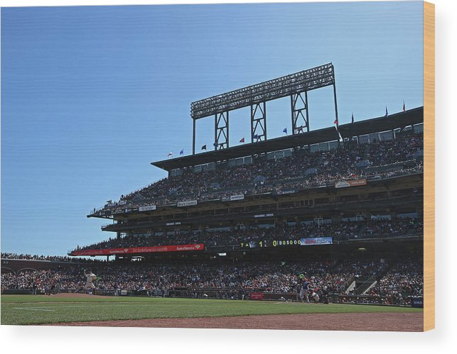 San Francisco Wood Print featuring the photograph Colorado Rockies V. San Francisco Giants by Brad Mangin