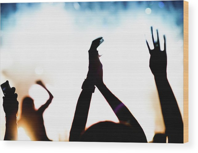 Rock Music Wood Print featuring the photograph Concert Crowd by Alenpopov