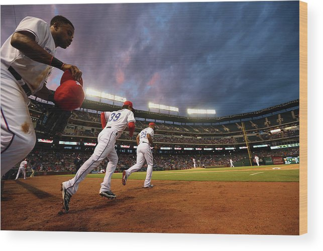 American League Baseball Wood Print featuring the photograph Kansas City Royals V Texas Rangers by Ronald Martinez