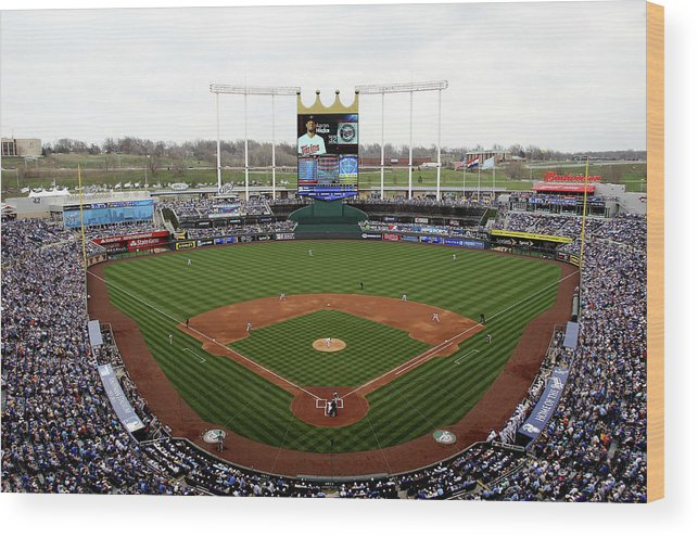 American League Baseball Wood Print featuring the photograph Minnesota Twins V Kansas City Royals by Jamie Squire