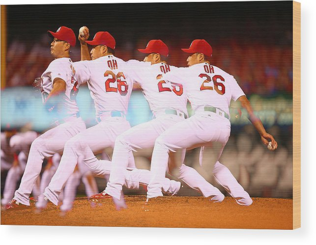 St. Louis Cardinals Wood Print featuring the photograph Philadelphia Phillies V St Louis by Dilip Vishwanat
