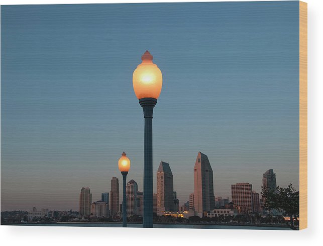 Tranquility Wood Print featuring the photograph San Diego Skyline by Mitch Diamond