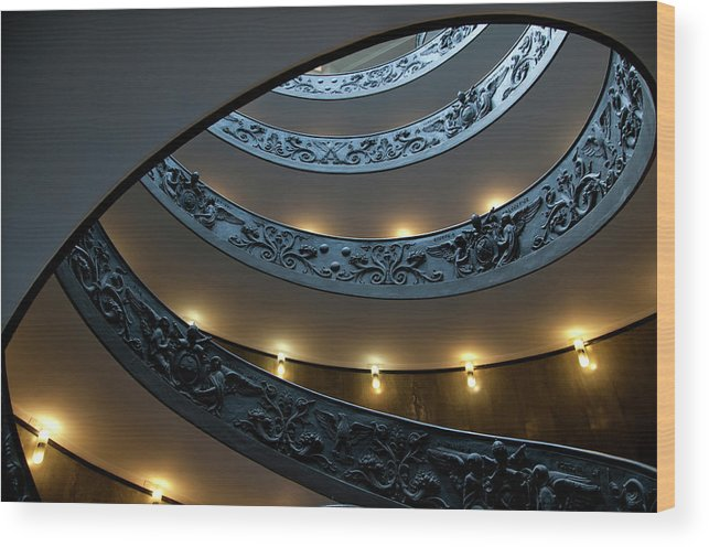 Italian Culture Wood Print featuring the photograph Spiral Staircase At The Vatican by Mitch Diamond