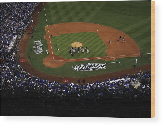 American League Baseball Wood Print featuring the photograph World Series - San Francisco Giants V by Ezra Shaw