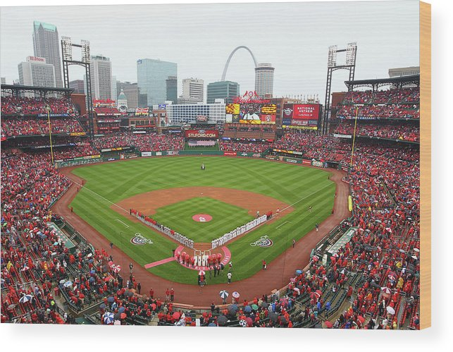 St. Louis Cardinals Wood Print featuring the photograph Cincinnati Reds V St. Louis Cardinals by Dilip Vishwanat