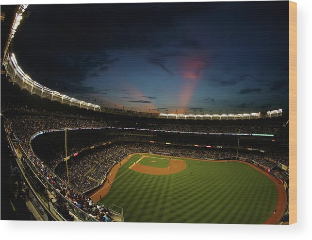 American League Baseball Wood Print featuring the photograph New York Mets V New York Yankees by Al Bello