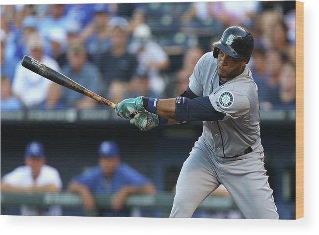 American League Baseball Wood Print featuring the photograph Seattle Mariners V Kansas City Royals by Ed Zurga
