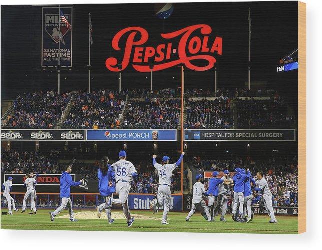 American League Baseball Wood Print featuring the photograph World Series - Kansas City Royals V New by Al Bello