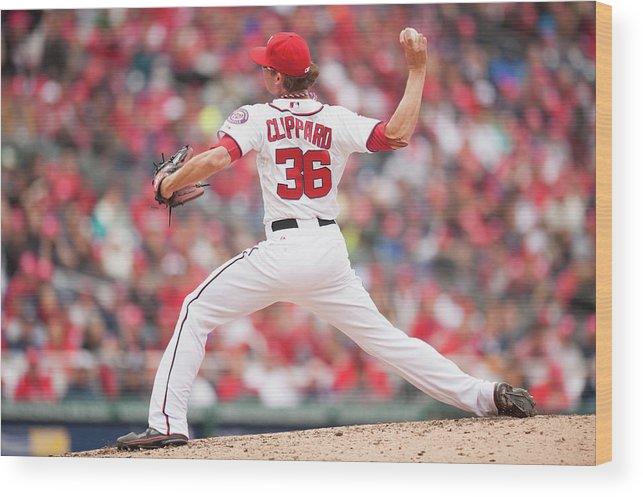 Baseball Pitcher Wood Print featuring the photograph Atlanta Braves V. Washington Nationals by Mitchell Layton