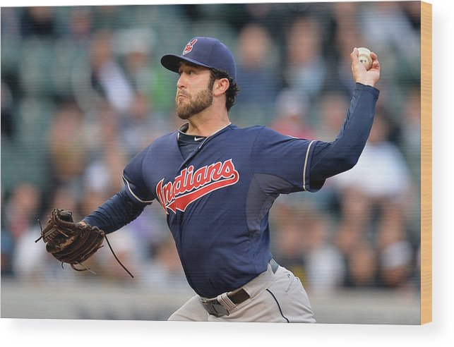 American League Baseball Wood Print featuring the photograph Cleveland Indians V Chicago White Sox by Brian Kersey