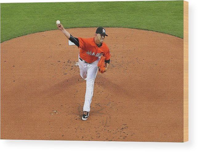 People Wood Print featuring the photograph Colorado Rockies V Miami Marlins by Mike Ehrmann