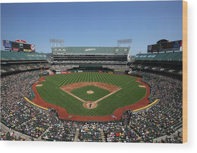 American League Baseball Wood Print featuring the photograph Houston Astros Vs. Oakland Athletics by Brad Mangin