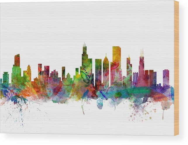 Chicago Wood Print featuring the digital art Chicago Illinois Skyline by Michael Tompsett
