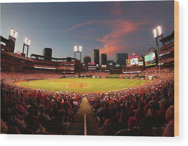 St. Louis Cardinals Wood Print featuring the photograph Cincinnati Reds V St Louis Cardinals by Dilip Vishwanat