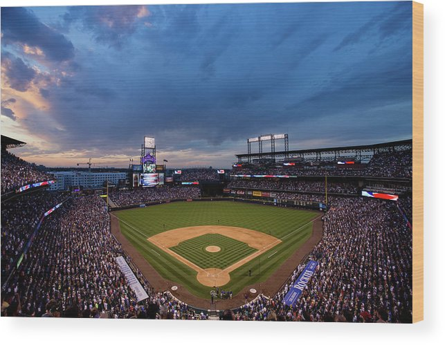 National League Baseball Wood Print featuring the photograph Los Angeles Dodgers V Colorado Rockies by Justin Edmonds