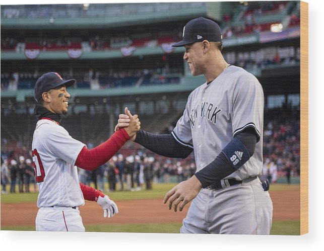Three Quarter Length Wood Print featuring the photograph New York Yankees v Boston Red Sox by Billie Weiss/Boston Red Sox
