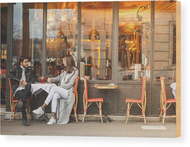 Young Men Wood Print featuring the photograph A classic Parisian cafe by Fotostorm