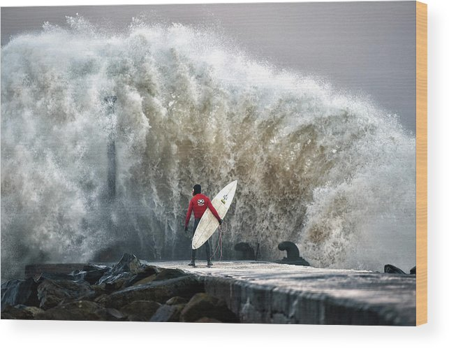 Professional Sport Wood Print featuring the photograph A Pro-surfer Waits For A Break In The by Charles Mcquillan