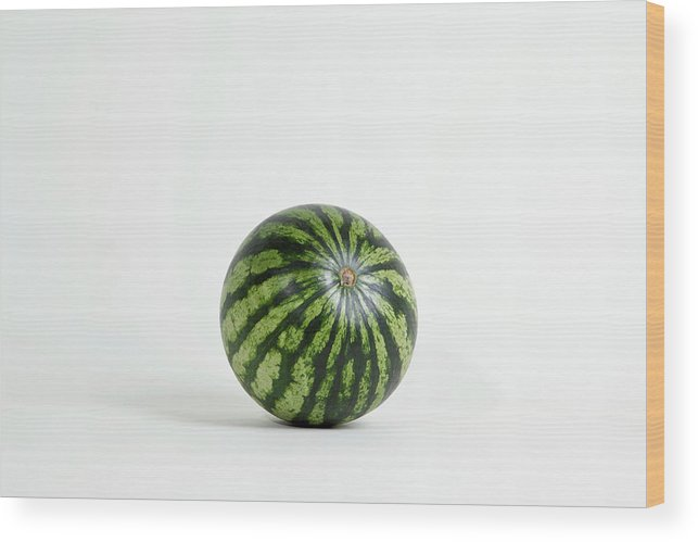 Shadow Wood Print featuring the photograph A Whole Ripe Watermelon, Studio Shot by Halfdark