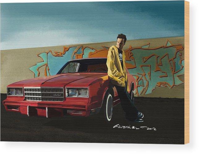 Aaron Paul Wood Print featuring the digital art Aaron Paul as Jesse Pinkman @ TV serie Breaking Bad by Gabriel T Toro