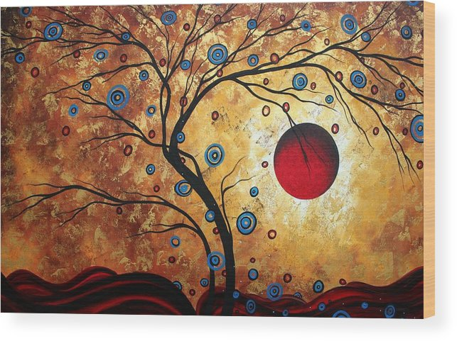 Abstract Art Landscape Tree Metallic Gold Texture Painting Free As The Wind By Madart Wood Print By Megan Duncanson