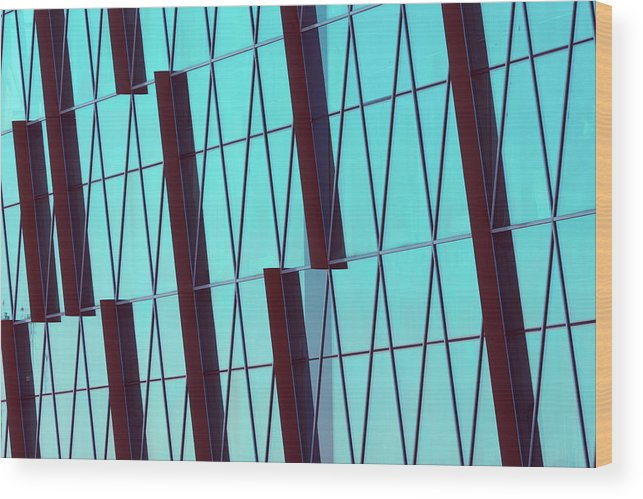 Ceiling Wood Print featuring the photograph Abstract Glass Surface With Geometric by Aapsky